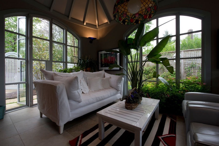 Day room with large windows overlooking the garden