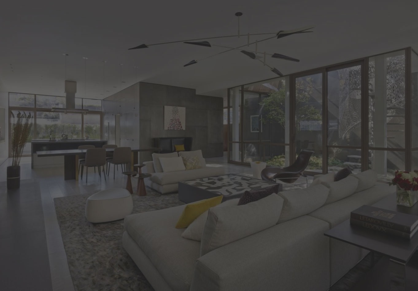Modern living room with dark overlay